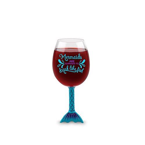 Weinglas mit Meerjungfrauen-Flosse