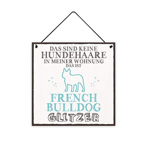 Frenchie-Glitzer Holzschild