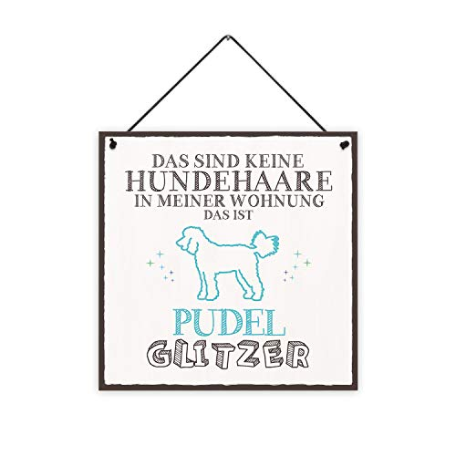Pudel-Glitzer Holzschild