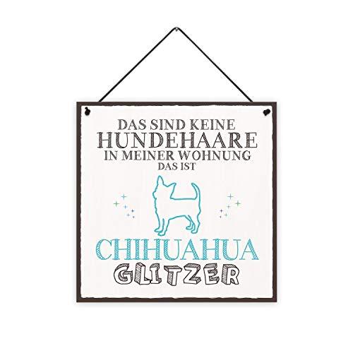 Chihuahua-Glitzer Holzschild
