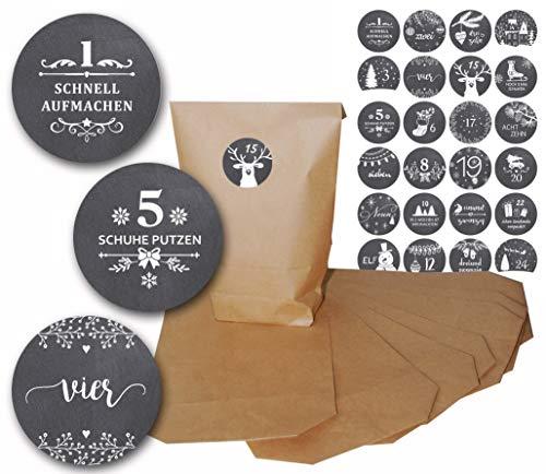 Design-Stickerzahlen mit Adventskalendertüten