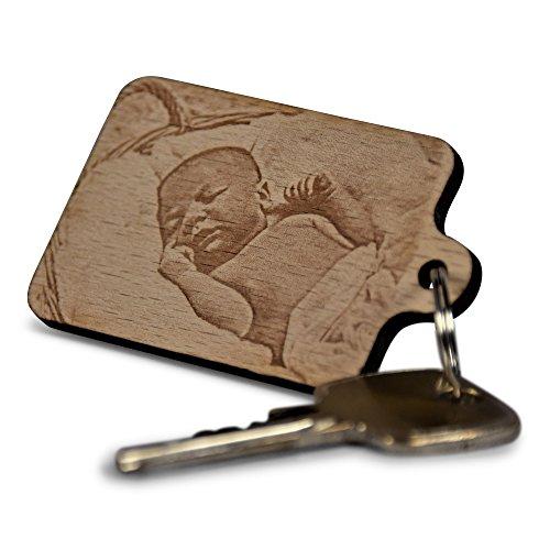Fotogravur-Schlüsselanhänger aus Holz