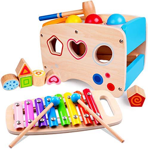 Rolimate Xylophon und Hammerspiel Spielzeug ab 1 Jahr, 3 in 1 Montessori...