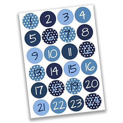 Blaue Adventskalender-Zahlen